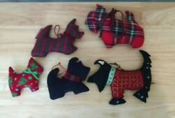 Lot of 5 Scottie Dog Scottish Terrier Ornaments Country Christmas Mixed Fabrics