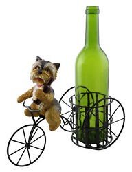 Yorkshire Terrier Yorkie Dog On Bicycle Tricycle Wine Bottle Holder
