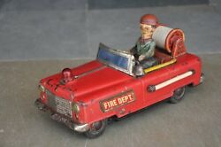 Vintage Fire Dept. Battery Litho Car Tin Toy , Collectible