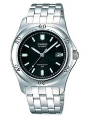 Casio Mtp1213a-1av Menand039s Standard Stainless Steel Analog Black Dial Date Watch
