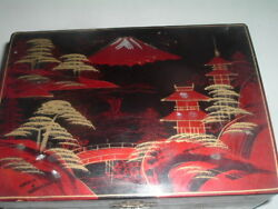 Vintage Japanese Hand Painted Wood Laquer Mop Pagoda Mt Fuji Jewelry Box