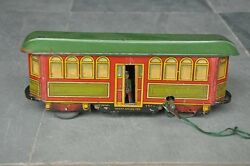 Rare Vintage Wind-up Fish Mark Litho Train / Tram Tin Toy , Germany Fischer