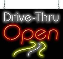 Drive-thru Open With Road Scene Neon Sign | Jantec | 2 Sizes | Cafe | Diner