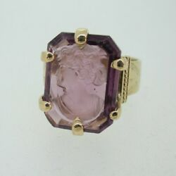 Vintage 1800's 10k Amethyst Cameo Ring Size 9