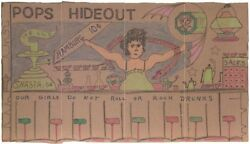 Pops Hideout On A Cracker Box By Outsider Artist Lewis Smith Deceased.