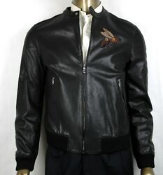 4750 Men Black Washed Calf Bomber Jacket W/bee Embroidery 50r 408375 1300
