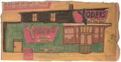 Yoders Store On Cardboard By Outsider Artist Lewis Smith Deceased.