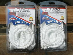 2 New 3/8 X 15and039 Double Braid White Mfp Dock Lines Floating Boat Mooring Rope