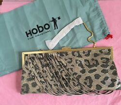 NWT Hobo International Colette Leather Organizer Wristlet Clutch Cheetah Shimmer