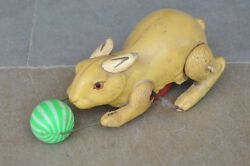 Vintage Cc Trademark Yellow Rabbit Playing Ball Celluloid Wind Up Toy Japan