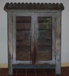 Folk Art Cabinet With Wonderful, Crazed Gray And Blue Paint And A Scalloped Top