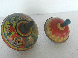 2 Pc Vintage Round Spinning Litho Top Tin Toy , Collectible