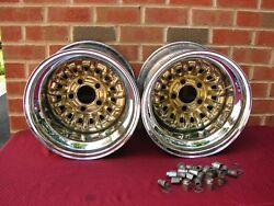 Vintage La So Chrome And Gold 15 X 10 Wheels 5x4.5 4.74 And 5 Bc Ford Amc Mopar Gm