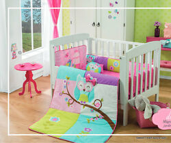 Owl Crib Bedding Set 6pc Comforter 100 Cotton Baby Shower Pink Special Edition