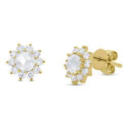 14k Yellow Gold Real Rose Cut Diamond Vintage Stud Earrings Antique Style 0.90ct