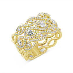 14k Yellow Gold Diamond Open Marquise Lace Wide Cocktail Ring Womens 0.84ct
