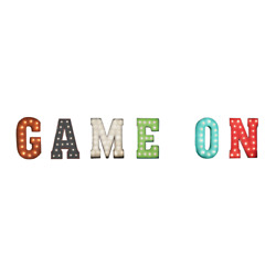 Game On Games Pinball Video Room Play Rustic Vintage Metal Marquee Light Up Sign