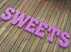 Sweets Treats Candy Sugar Snacks Yum Rustic Vintage Metal Marquee Light Up Sign