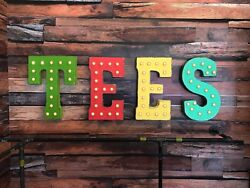 Tees Tshirt Shop Store Clothing Store Custom Rustic Metal Marquee Light Up Sign