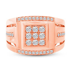 Mens 0.79ct 14k Rose Gold Round Cut Diamond Cocktail Right Hand Mans Ring