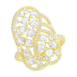 Womens 1.28 Ct 14k Yellow Gold Natural Rose Cut Diamond Vintage Cocktail Ring