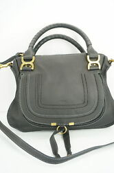 Chloe Black Leather Medium Marcie Satchel Shoulder Bag NWOT $1990