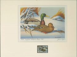 Maryland 1 1974 State Duck Stamp Print Mallards 1st Edition By John Taylor
