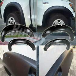4x Pocket Riveted Smooth Bolt-on Fender Flares 2007-2013 Toyota Tundra Black