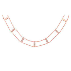 Womens 0.33ct 14k Rose Gold Natural Diamond Collar Necklace Ladder Style