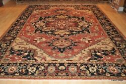 9' x 12' Persian Heriz Fine Quality Handmade Hand-knotted Coral Color Rug