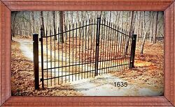 12' Wide Wrought Iron Style Driveway Gate Inc Post Pkg Fence Yard Home Security