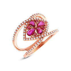 Natural Womens 1.14 Tcw 14k Rose Gold Pear Round Cut Ruby Diamond Cocktail Ring