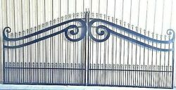 New Orleans Style Wrought Iron Driveway Gate 15' Ds Security Veterans Discount