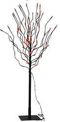Halloween 40quot; LED Lighted Black Tree with Red Lights