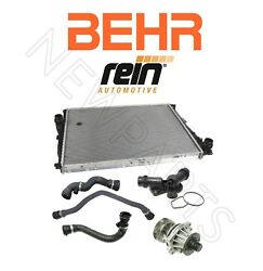 Radiator Thermostat Upper Lower Hoses Water Pump Kit For E46 3-series Auto Trans