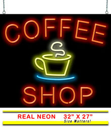 Coffee Shop Neon Sign   Jantec   32 X 27   Cafe Tea Cold Brew Books Diner Iced