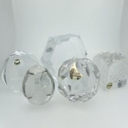 Lot Of 5 Vintage Crystal Paperweight Knick-knacks Interesting Designs And Shapes