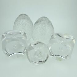 Lot Of 5 Vintage Crystal Controlled Air Bubble Paperweight Knick-knacks Sweden