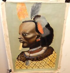 Vintage Original Acrylic On Canvas African Chief Warrior Painting Unsigned