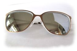 New Guess Gf6010 Bronze-white/mirror Womens Sunglasses + Guess Black Pouch
