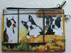 Boston Terrier Zippered Pouch Dog Breed Ruth Maystead Artwork Coin Purse Make up
