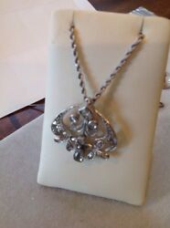 Rare Antique Rose-cut Natural Diamond Large Pendant And 18 14kt White Rope Chain
