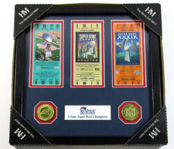Patriots 3x Superbowl Champ 3 Replica Ticket 2 Coin Highland Mint Framed Display
