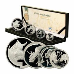 South Africa Wildlife Series Proof Set The Rhino 2003 4 Silver Coins Mint Box And