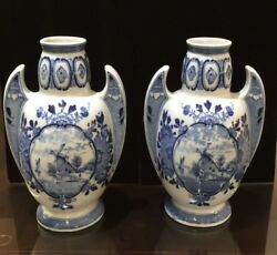 Antique Pair Of Delft Blue Vases From The Netherlands