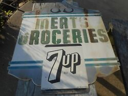 Vintage Rare Htf Scroll Top 2-sided 7up Soda Meats Groceries Advertising Sign