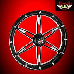 2008-2020 Harley Black Contrast 23 Front Wheel And Floating Rotors 6ix Shooter