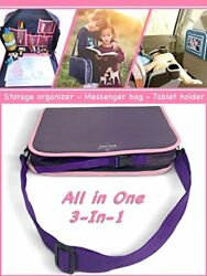 Car Seat Kids Travel Tray in Purple with Solid Surface  Messenger Bag for Table