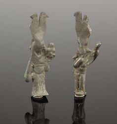 Extremely Rare Roman Silver Earrings Harpocrates And Isis Fortuna - 1st/2nd Ad