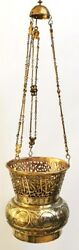 Islamic Copper Mosque Lamp Plated Gold